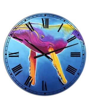 "Designart Humpback Whale - Rainbow Large Nautical & Coastal Wall Clock - 36"" x 28"" x 1"""