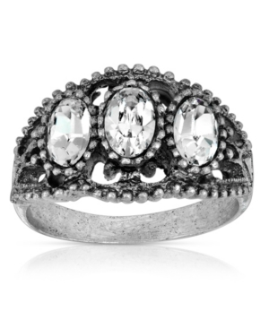 Pewter Triple Clear Crystal Oval Ring