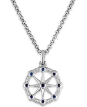 """Esquire Men's Jewelry Blue Sapphire (1/2 ct. t.w.) & White Sapphire (1/2 ct. t.w.) North Star 22"""" Pe"""