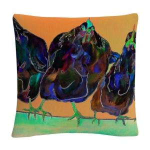 "Color Series Four Clucks Green Animals Pets Painting Bold 16x16"" Decorative Throw Pillow by Pat Saun"