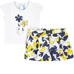Mayoral Mayoral White Floral T-Shirt And Shorts Set 18 months
