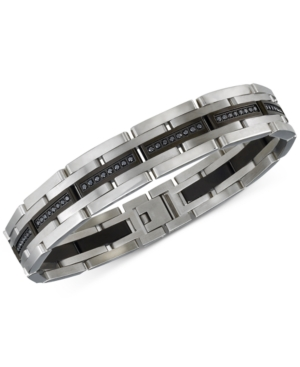 Esquire Men's Jewelry Diamond Bracelet (1 ct. t.w.) in Stainless Steel and Black Ion-Plating, Create