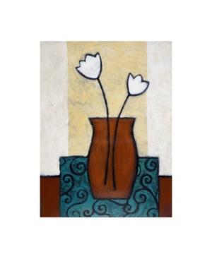 "Pablo Esteban Flowers in Brown Vase and Blue Mat Canvas Art - 27"" x 33.5"""