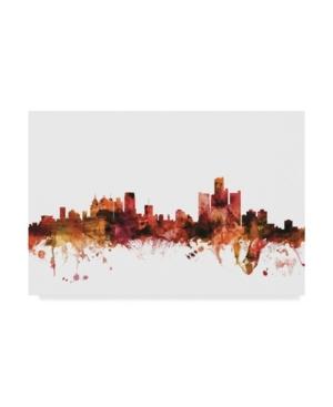 "Michael Tompsett Detroit Michigan Skyline Red Canvas Art - 20"" x 25"""