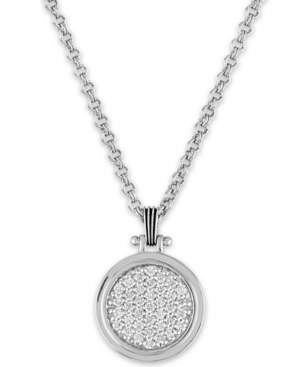 """Esquire Men's Jewelry White Sapphire Cluster 22"""" Pendant Necklace (1/10 ct. t.w.) in Sterling Silver"""