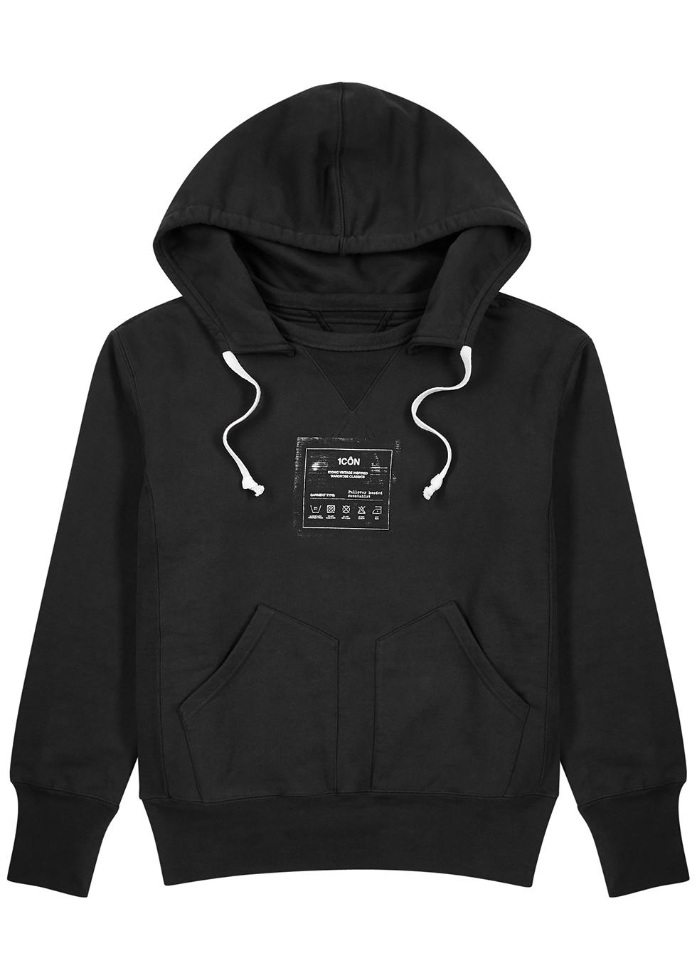 Dark grey hooded cotton sweatshirt