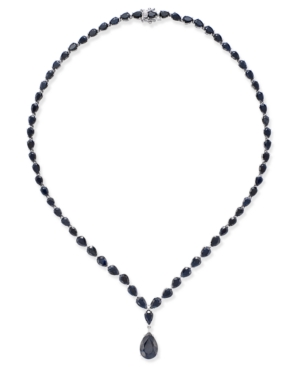 Black Sapphire Collar Necklace (28 ct. t.w.) in Sterling Silver, Created for Macy's