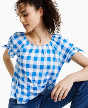 Style & Co Petite Gingham Top, Created for Macy's