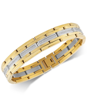 Esquire Men's Jewelry Diamond Link Bracelet (1/2 ct. t.w.) in Stainless Steel & Gold Ion-Plate, Crea
