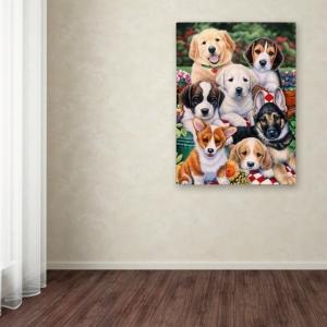 "Jenny Newland 'Garden Puppies' Canvas Art, 14"" x 19"""