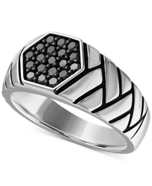 Esquire Men's Jewelry Diamond Brick Pattern Ring (1/2 ct. t.w.) in Sterling Silver, Created for Macy