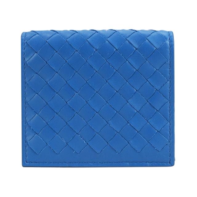 BOTTEGA VENETA 經典編織小羊皮暗扣對開卡片夾(蓝390881 VQ131 4321)