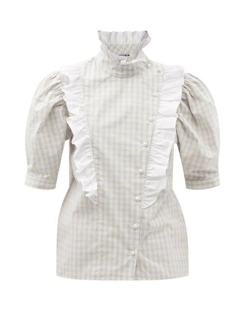 Batsheva - Sophie Ruffled Check Cotton-poplin Blouse - Womens - Grey White
