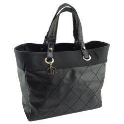 CHANEL 黑色菱格紋帆布比亞里茲肩背大購物包【九成新展示品】