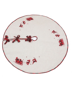 "Manor Luxe Applique Tartan Santa Sleigh with Reindeers Christmas Tree Skirt 56"" Round"