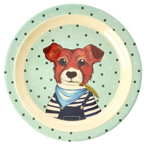 RICE A/S RICE A/S Green Melamine Plate with Animal Design One Size