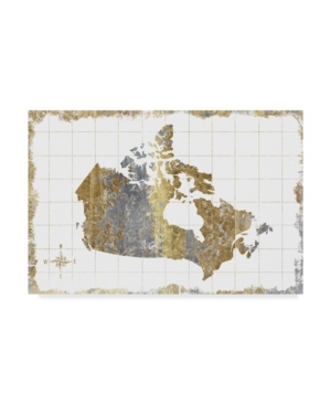 "Wild Apple Portfolio Gilded Map Canada Canvas Art - 15"" x 20"""