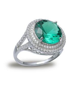 Green Cubic Zirconia Double Pave Row Ring (7-1/2 ct. t.w.) In Sterling Silver