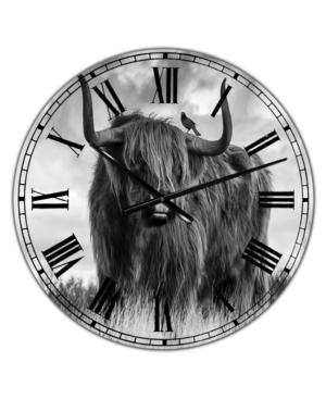 "Designart Longhaired Scottish Bull Large Cottage Wall Clock - 36"" x 28"" x 1"""