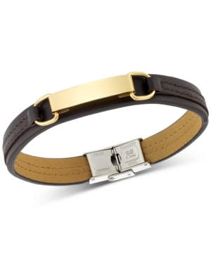 Legacy for Men by Simone I. Smith Id Plate Brown Leather Bracelet in Stainless Steel Yellow Ion-Plat