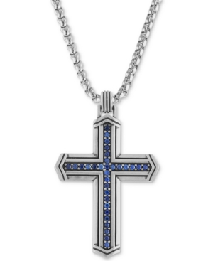 """Esquire Men's Jewelry Sapphire Cross 22"""" Pendant Necklace (5/8 ct. t.w.) in Sterling Silver, Created"""