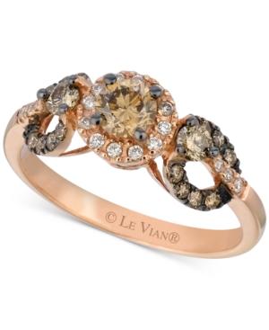 Le Vian Chocolate Diamond & Vanilla Diamond Ring (3/4 ct. t.w.) in 14k Rose Gold