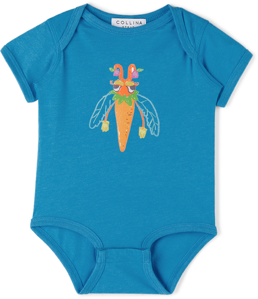 Collina Strada SSENSE 独家发售蓝色 Bug Printed 婴儿连体衣