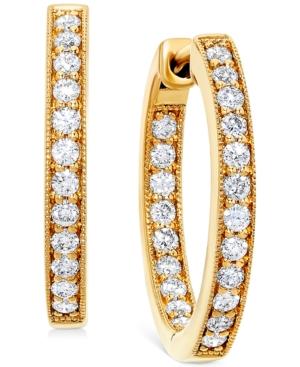 """Diamond Small In & Out Hoop Earrings (5/8 ct. t.w.) in 14k Gold, 0.75"""""""