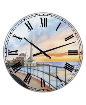 """Designart St Mary's Lighthouse Large Nautical & Coastal Wall Clock - 36"""" x 28"""" x 1"""""""