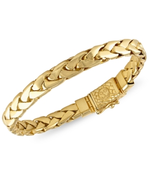 Esquire Men's Jewelry Woven Link Bracelet in 14k Gold-Plated Sterling Silver, Created for Macy's