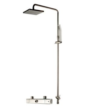 Alfi brand Brushed Nickel Square Style Thermostatic Exposed Shower Set Bedding