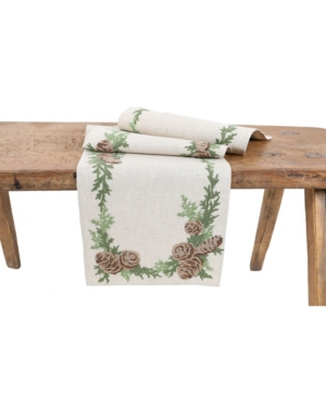 Manor Luxe Winter Pine Cones and Branches Crewel Embroidered Table Runner