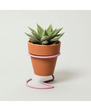 Block Design Wire Plant Pot, Pink