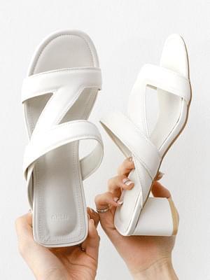 韓國空運 - Slant Strap Triangular Heel Mule Sandal 5355 涼鞋