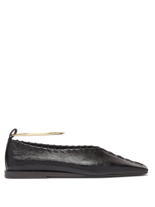 Jil Sander - Whipstitched Square-toe Leather Flats - Womens - Black