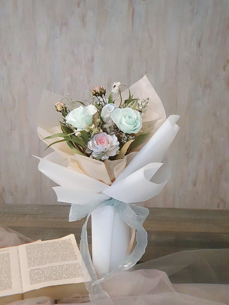 薄荷永生玫瑰乾燥花束 韓式花束 現貨 快速出貨