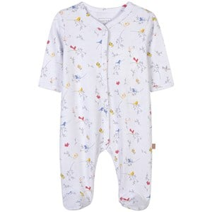Carrément Beau White Bird Print Footed Baby Body 6 months