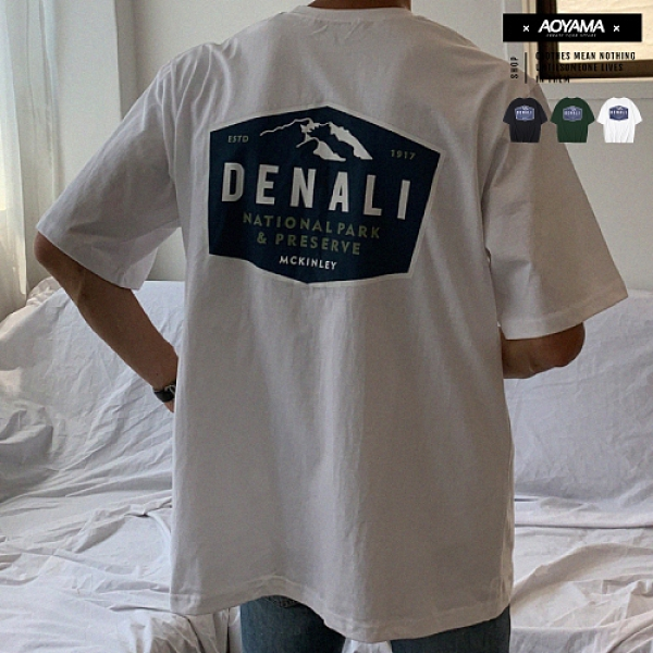 短T MOUNT DENALI 藍景 山系 五分袖落肩短T【A8834】青山 雪山 韓國 寬鬆短袖 情侶