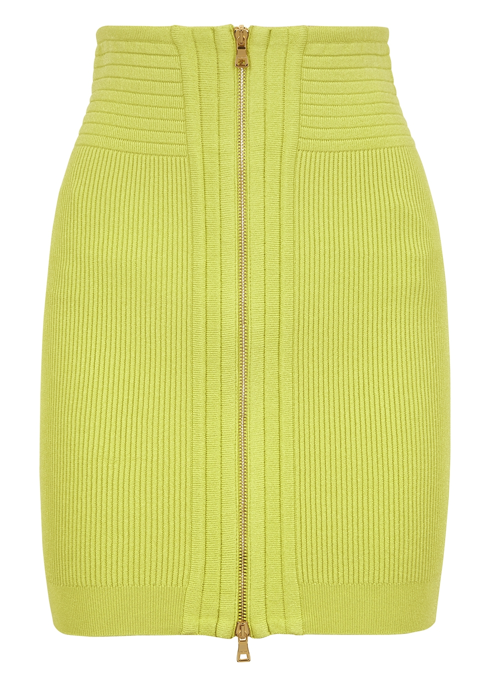 Lime ribbed-knit mini skirt