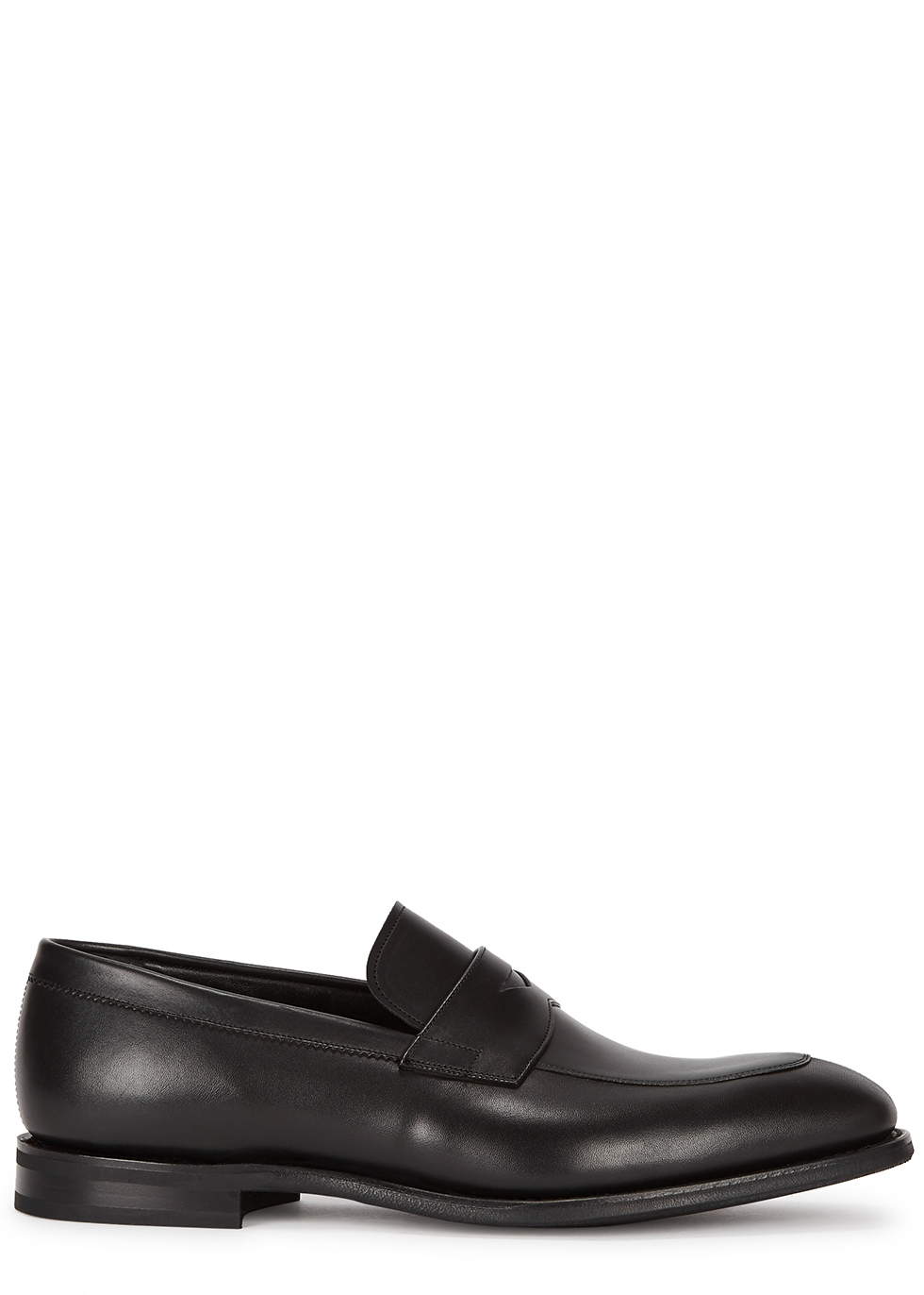 Parham black leather penny loafers