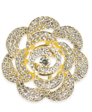 Holiday Lane Gold-Tone Crystal Flower Pin, Created for Macy's