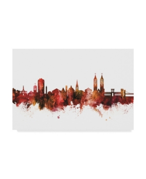 "Michael Tompsett Kassel Germany Skyline Red Canvas Art - 15"" x 20"""