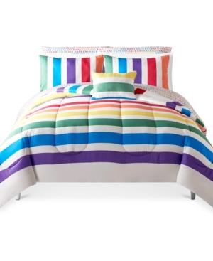 Rainbow Stripe 12-Pc. Reversible Queen Comforter Set, Created for Macy's Bedding