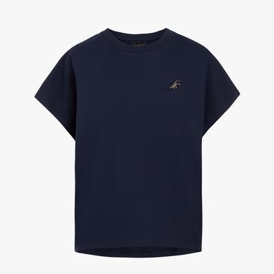 agnes b. - Sport b. 恐龍胸章圓領素色短袖上衣(女)(藍)