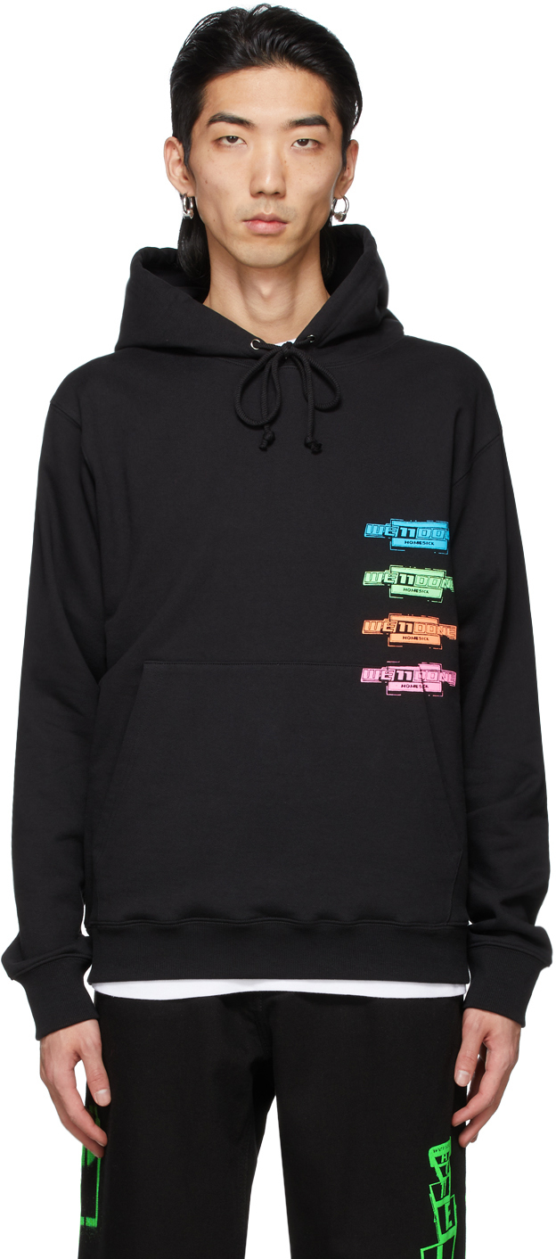 We11done 黑色 Multicolor Logo 连帽衫
