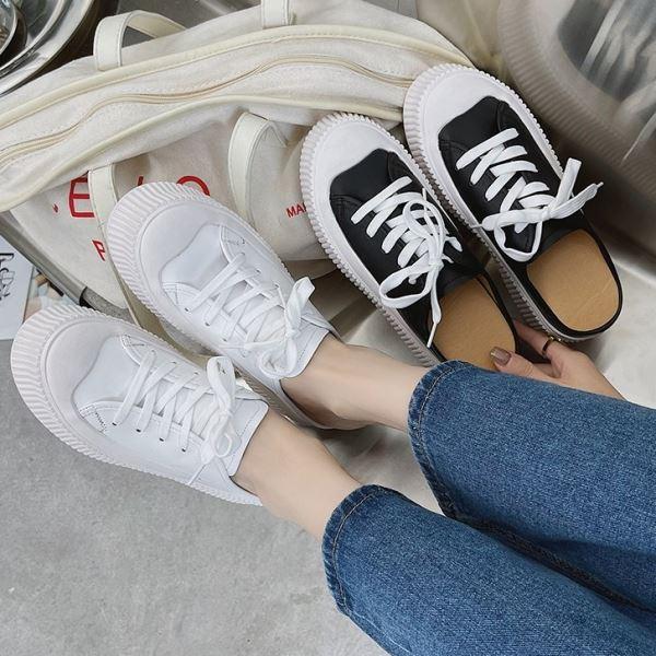 穆勒鞋.經典時尚流線拼接皮革綁帶餅乾厚底拖鞋.白鳥麗子