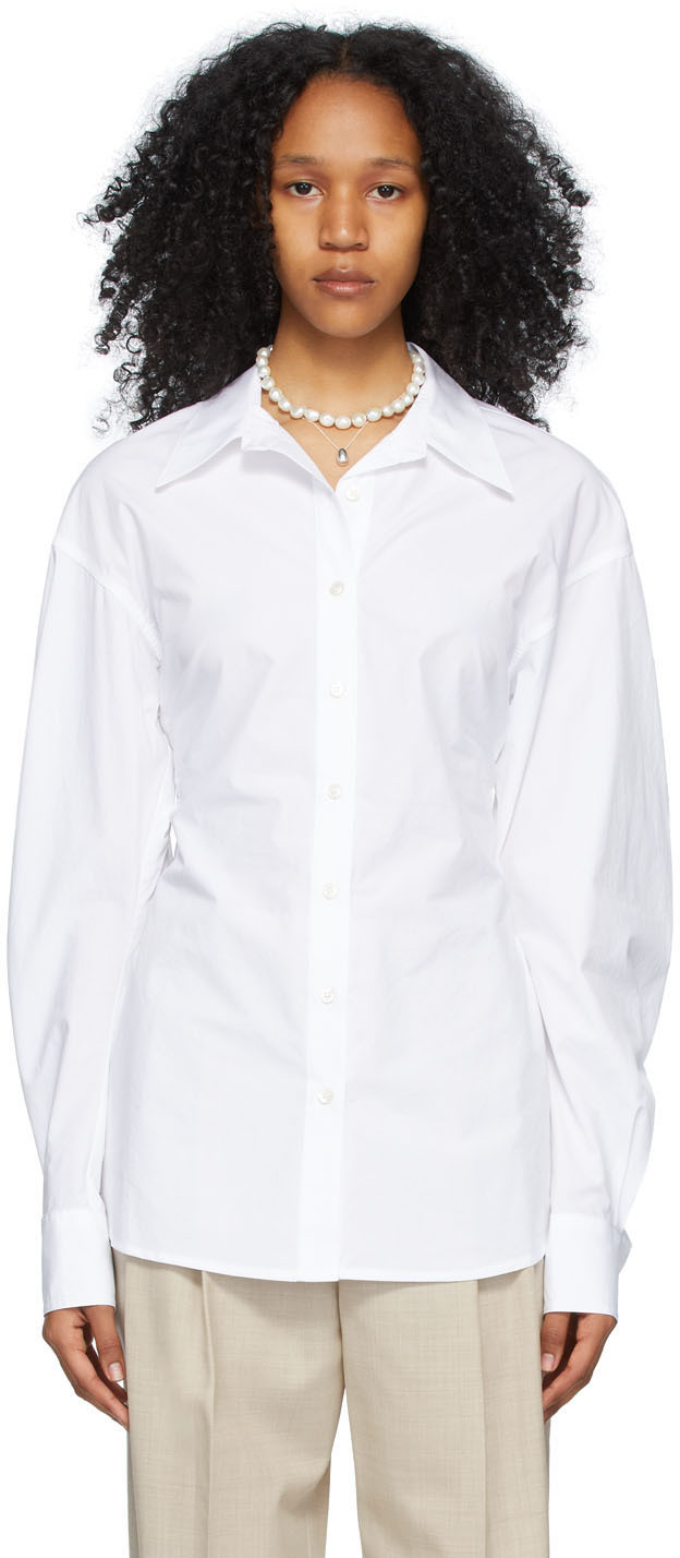 DRAE 白色褶饰衬衫
