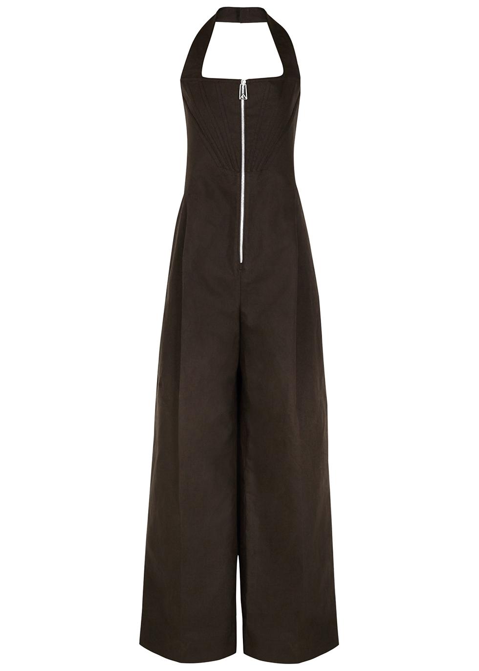 Dark brown linen-blend jumpsuit