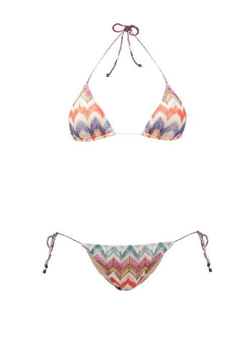 Missoni Mare - Chevron-stripe Triangle Bikini - Womens - Multi