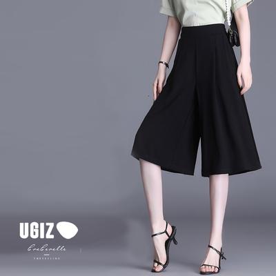 UGIZ-顯瘦鬆緊腰斜插口袋造型七分褲裙-2色(M-2XL)